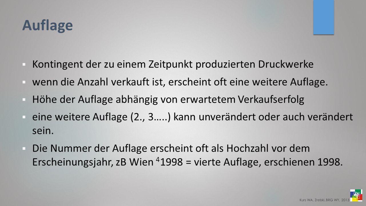 Auflage Kontingent der zu einem Zeitpunkt produzierten Druckwerke wenn die Anzahl verkauft ist, erscheint oft eine weitere Auflage.