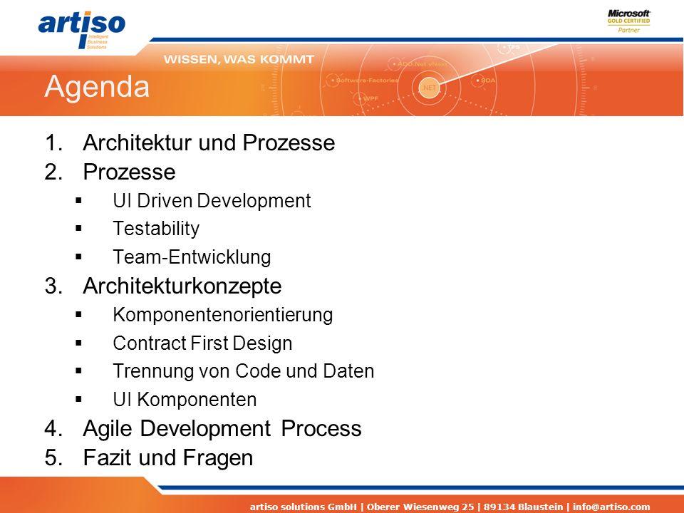 artiso solutions GmbH | Oberer Wiesenweg 25 | 89134 Blaustein | info@artiso.com Vorstellung Thomas Schissler Software-Architekt und Projektleiter artiso AG Schwerpunkte sind Team Foundation Server Entwicklungsprozesse Software-Architektur und Software Design Leiter der.net Developergroup Ulm (www.dotnet-ulm.de)www.dotnet-ulm.de Blog : http://www.artiso.com/probloghttp://www.artiso.com/problog
