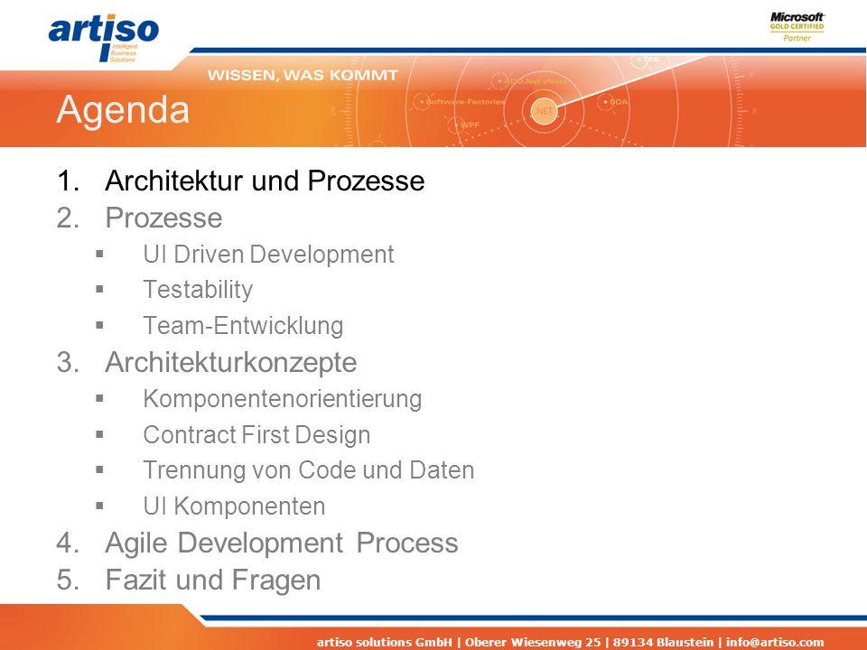 artiso solutions GmbH | Oberer Wiesenweg 25 | 89134 Blaustein | info@artiso.com Agenda 1.Architektur und Prozesse 2.Prozesse UI Driven Development Testability Team-Entwicklung 3.Architekturkonzepte Komponentenorientierung Contract First Design Trennung von Code und Daten UI Komponenten 4.Agile Development Process 5.Fazit und Fragen