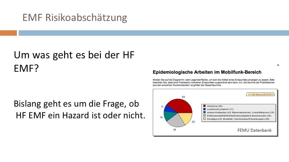 Um was geht es bei der HF EMF. Bislang geht es um die Frage, ob HF EMF ein Hazard ist oder nicht.
