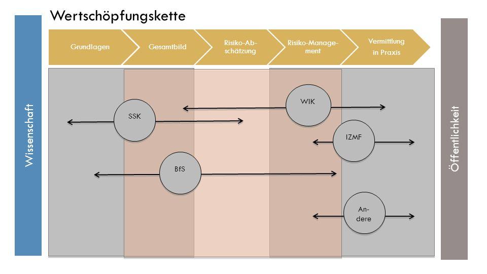 Wissenschaft Öffentlichkeit BfS SSK WIK IZMF Wertschöpfungskette An- dere