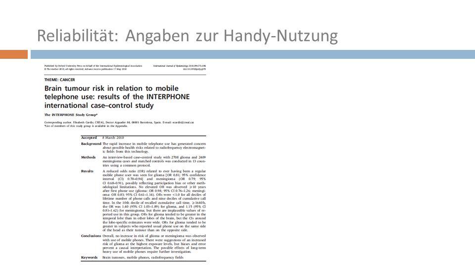 Reliabilität: Angaben zur Handy-Nutzung