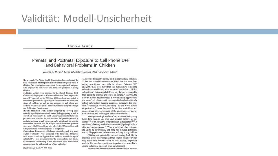 Validität: Modell-Unsicherheit
