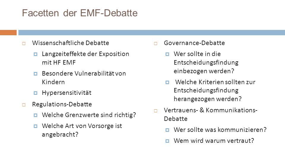 Facetten der EMF-Debatte Wissenschaftliche Debatte Langzeiteffekte der Exposition mit HF EMF Besondere Vulnerabilität von Kindern Hypersensitivität Regulations-Debatte Welche Grenzwerte sind richtig.