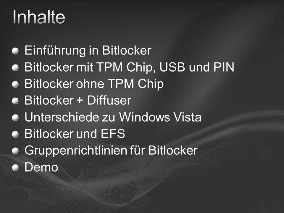 Einführung in Bitlocker Bitlocker mit TPM Chip, USB und PIN Bitlocker ohne TPM Chip Bitlocker + Diffuser Unterschiede zu Windows Vista Bitlocker und E