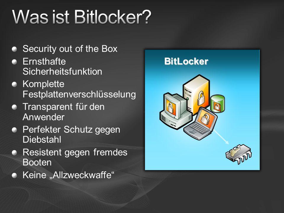 Security out of the Box Ernsthafte Sicherheitsfunktion Komplette Festplattenverschlüsselung Transparent für den Anwender Perfekter Schutz gegen Diebst
