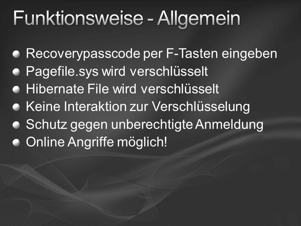 Recoverypasscode per F-Tasten eingeben Pagefile.sys wird verschlüsselt Hibernate File wird verschlüsselt Keine Interaktion zur Verschlüsselung Schutz