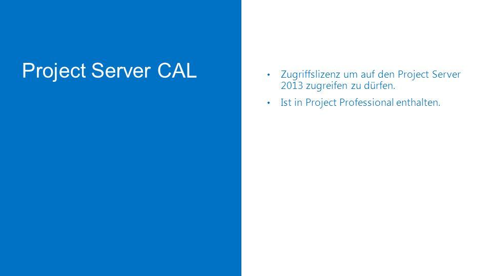 Project Server CAL Zugriffslizenz um auf den Project Server 2013 zugreifen zu dürfen.