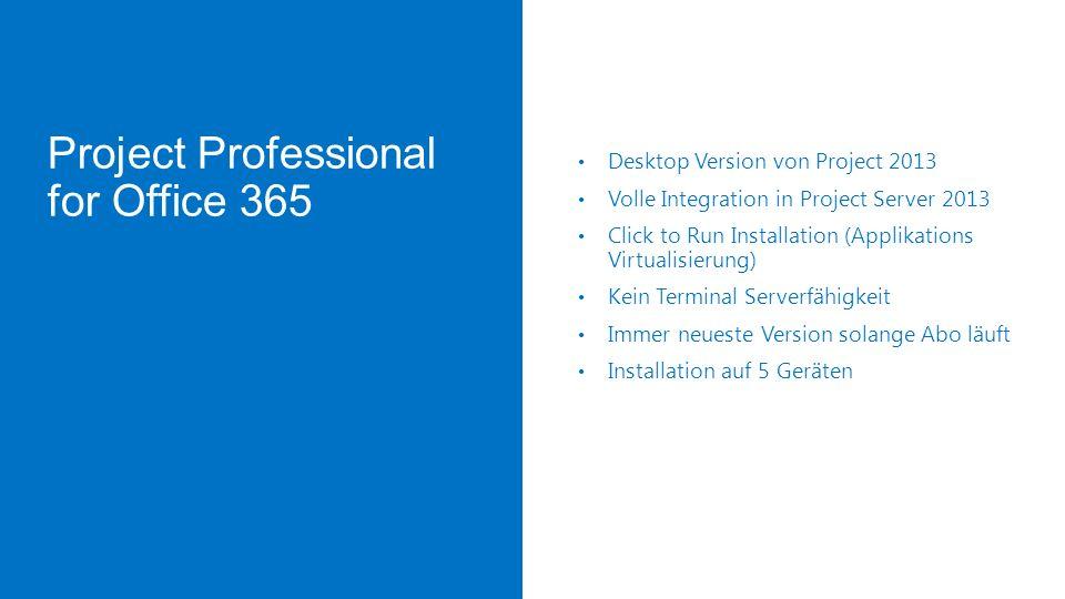 Project Online In der Cloud (Office 365) gehostete Project Server Umgebung Erhältlich als Service auf Basis monatlicher Zahlung Hohe Featureparität gegenüber Project Server 2013