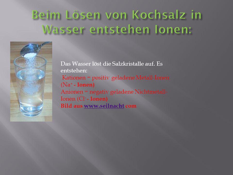 Das Wasser löst die Salzkristalle auf. Es entstehen: Kationen = positiv geladene Metall-Ionen (Na + - Ionen) Anionen = negativ geladene Nichtmetall- I