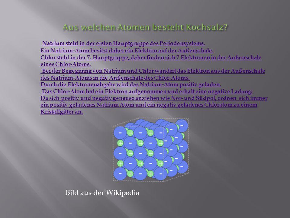Natrium steht in der ersten Hauptgruppe des Periodensystems. Natrium steht in der ersten Hauptgruppe des Periodensystems. Ein Natrium-Atom besitzt dah