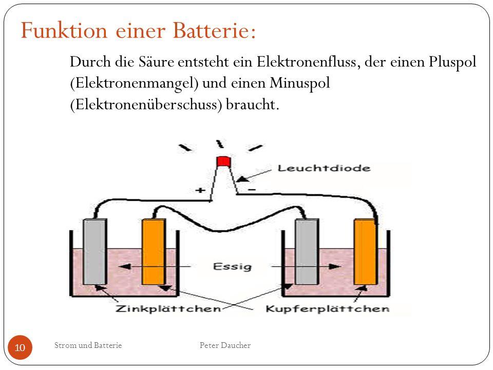 Strom und Batterie Peter Daucher 10 Funktion einer Batterie: Durch die Säure entsteht ein Elektronenfluss, der einen Pluspol (Elektronenmangel) und ei