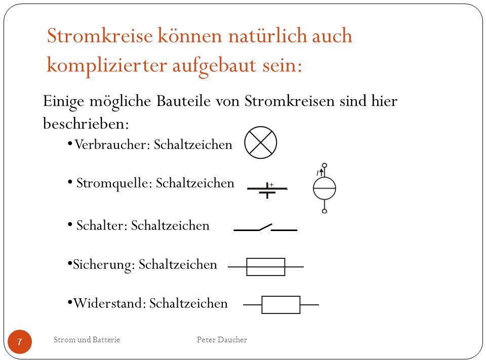 Einige mögliche Bauteile von Stromkreisen sind hier beschrieben: Verbraucher: Schaltzeichen Stromquelle: Schaltzeichen Schalter: Schaltzeichen Sicheru