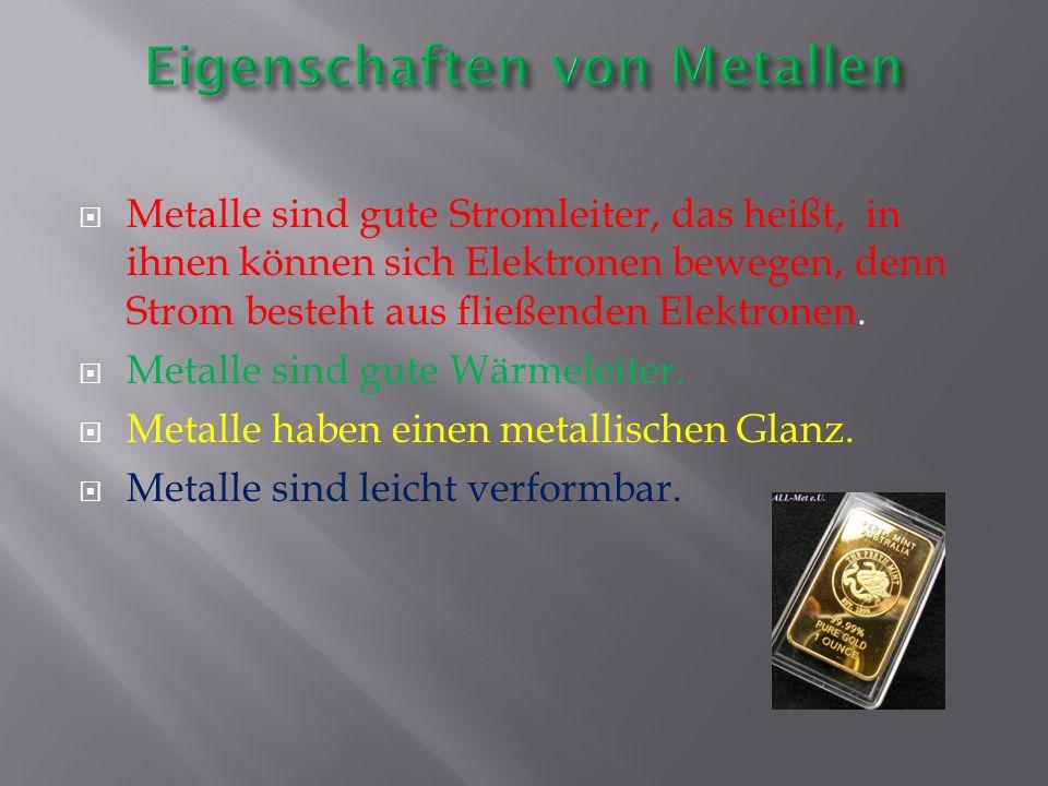 Alle Metalle bestehen aus positiv geladenen Atomen.