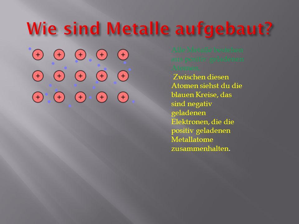Alle Metalle bestehen aus positiv geladenen Atomen. Zwischen diesen Atomen siehst du die blauen Kreise, das sind negativ geladenen Elektronen, die die