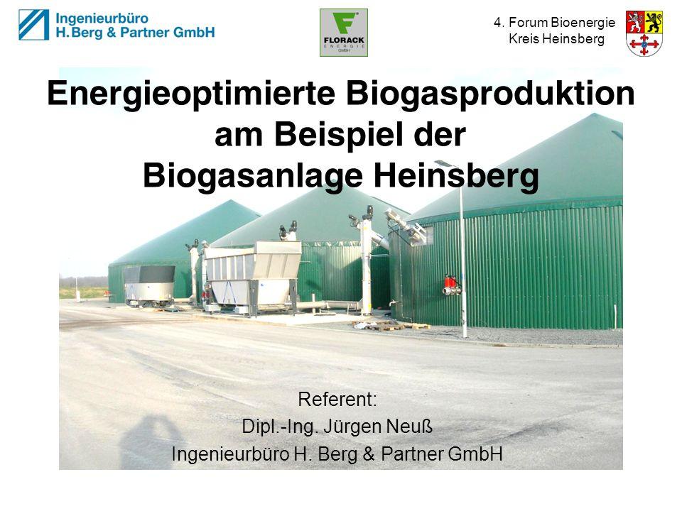 4. Forum Bioenergie Kreis Heinsberg Energieoptimierte Biogasproduktion am Beispiel der Biogasanlage Heinsberg Referent: Dipl.-Ing. Jürgen Neuß Ingenie