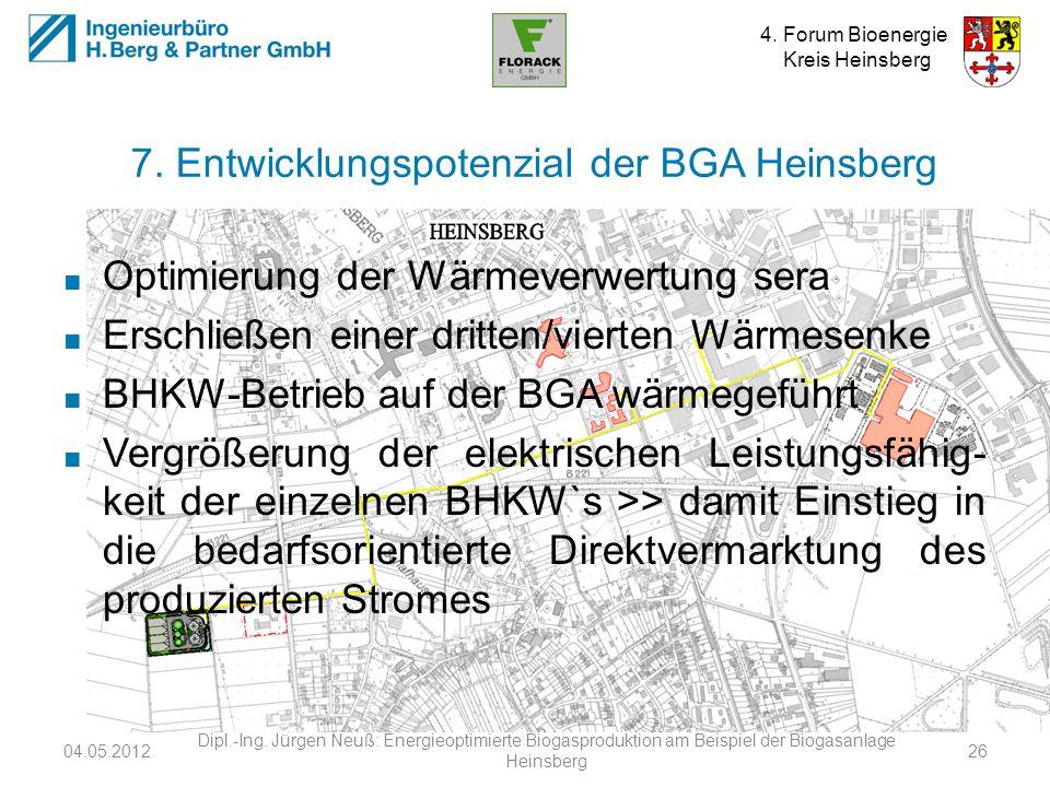 4. Forum Bioenergie Kreis Heinsberg 7. Entwicklungspotenzial der BGA Heinsberg Optimierung der Wärmeverwertung sera Erschließen einer dritten/vierten