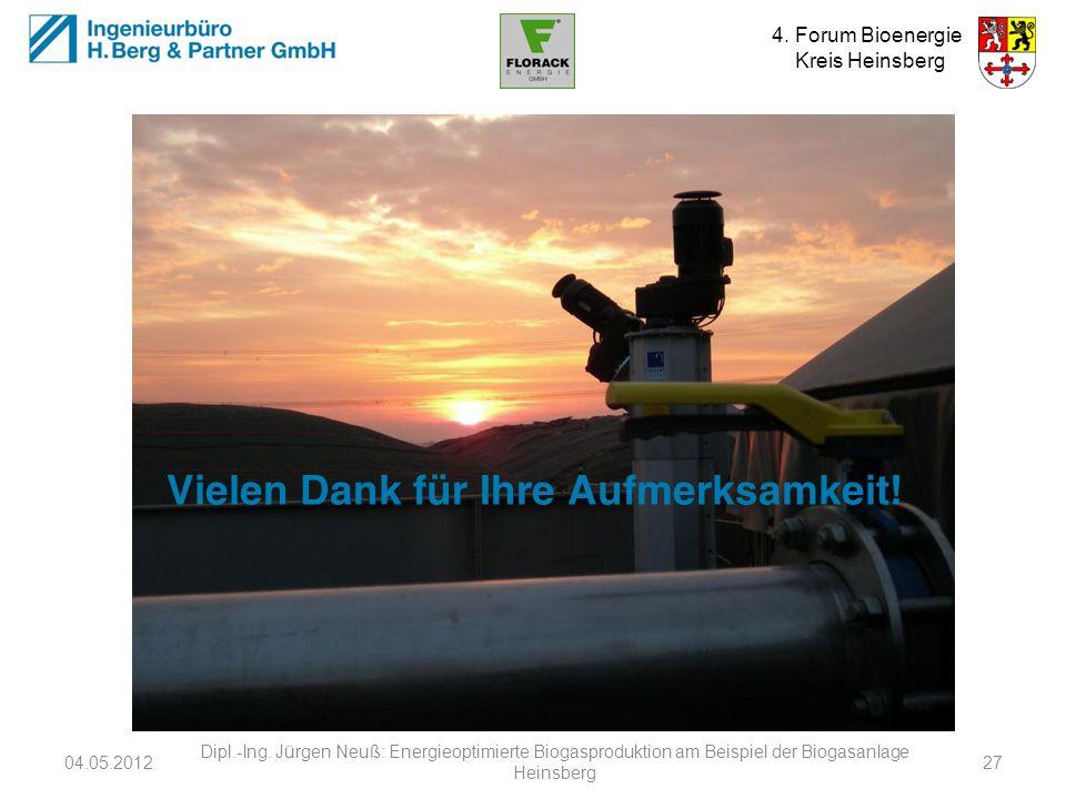 4. Forum Bioenergie Kreis Heinsberg Vielen Dank für Ihre Aufmerksamkeit! 04.05.2012 Dipl.-Ing. Jürgen Neuß: Energieoptimierte Biogasproduktion am Beis