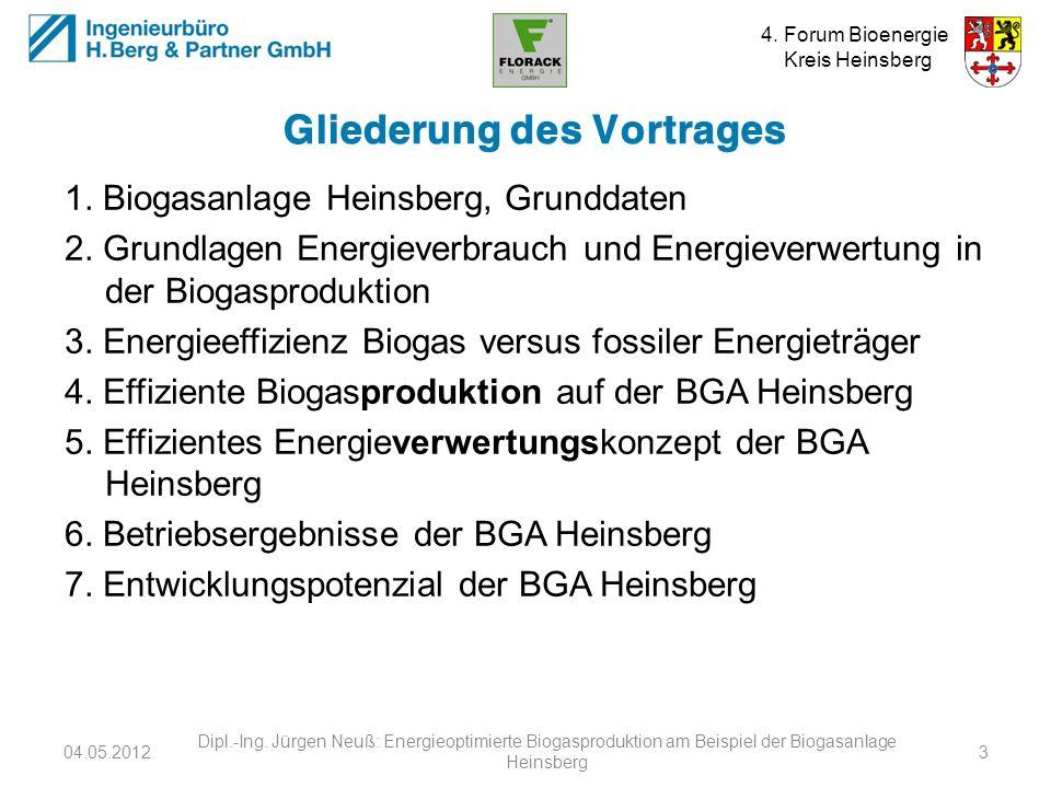 4. Forum Bioenergie Kreis Heinsberg Gliederung des Vortrages 1. Biogasanlage Heinsberg, Grunddaten 2. Grundlagen Energieverbrauch und Energieverwertun