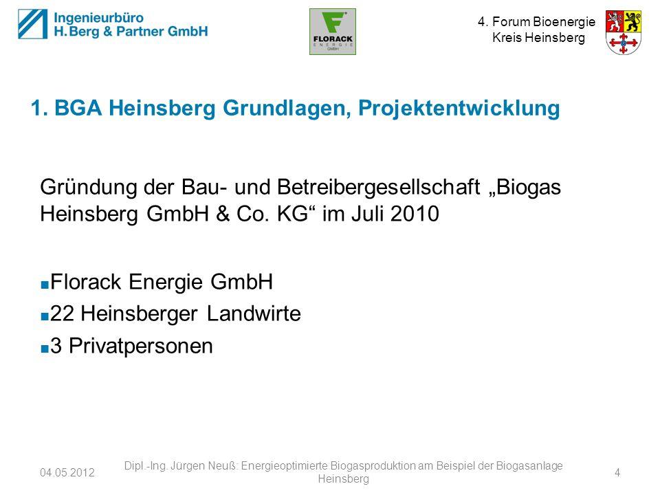 4. Forum Bioenergie Kreis Heinsberg Gründung der Bau- und Betreibergesellschaft Biogas Heinsberg GmbH & Co. KG im Juli 2010 Florack Energie GmbH 22 He