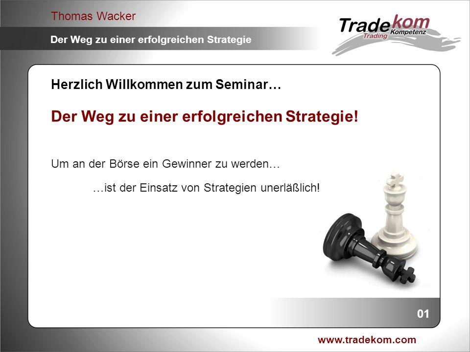 www.tradekom.com Thomas Wacker Der Weg zu einer erfolgreichen Strategie 22 Auswertung und Ergebnisse W/U-Niveaus: A = Abprall AB = Abprall / Bruch B = Bruch BA = Bruch / Abprall BB = Bruch / Bruch MD = Marktdreh