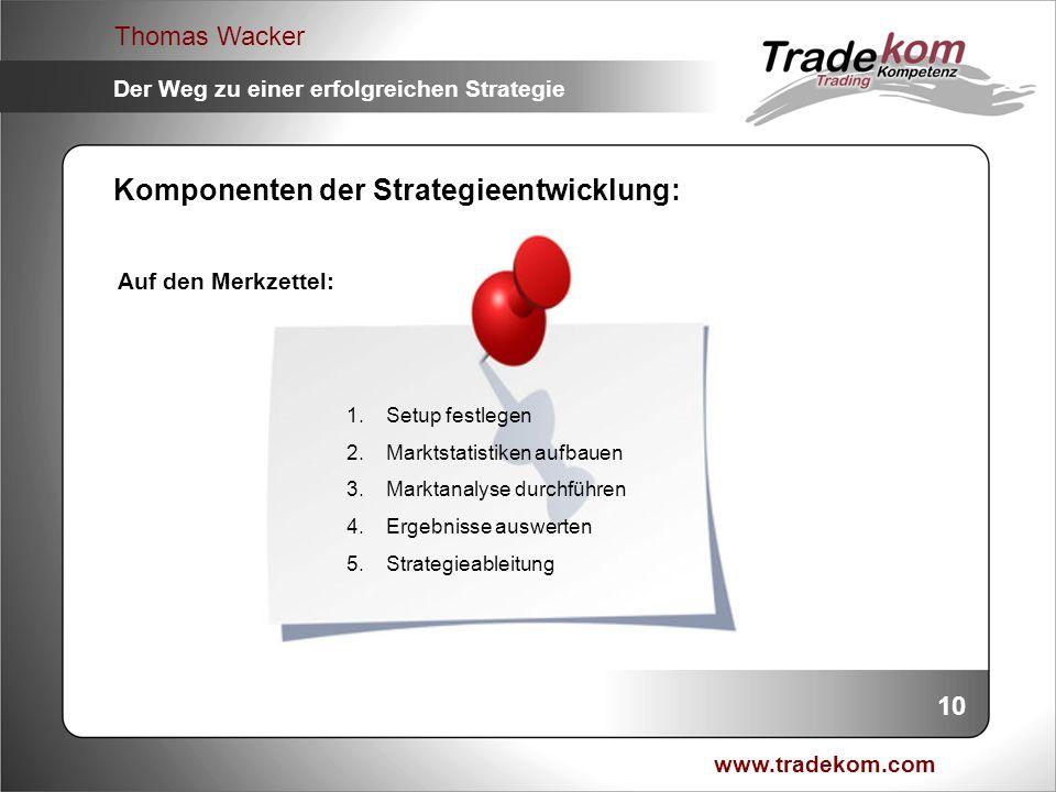 www.tradekom.com Thomas Wacker Der Weg zu einer erfolgreichen Strategie 1.Setup festlegen 2.Marktstatistiken aufbauen 3.Marktanalyse durchführen 4.Erg
