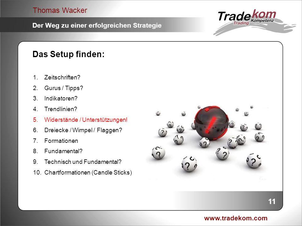 www.tradekom.com Thomas Wacker Der Weg zu einer erfolgreichen Strategie Das Setup finden: 1.Zeitschriften? 2.Gurus / Tipps? 3.Indikatoren? 4.Trendlini