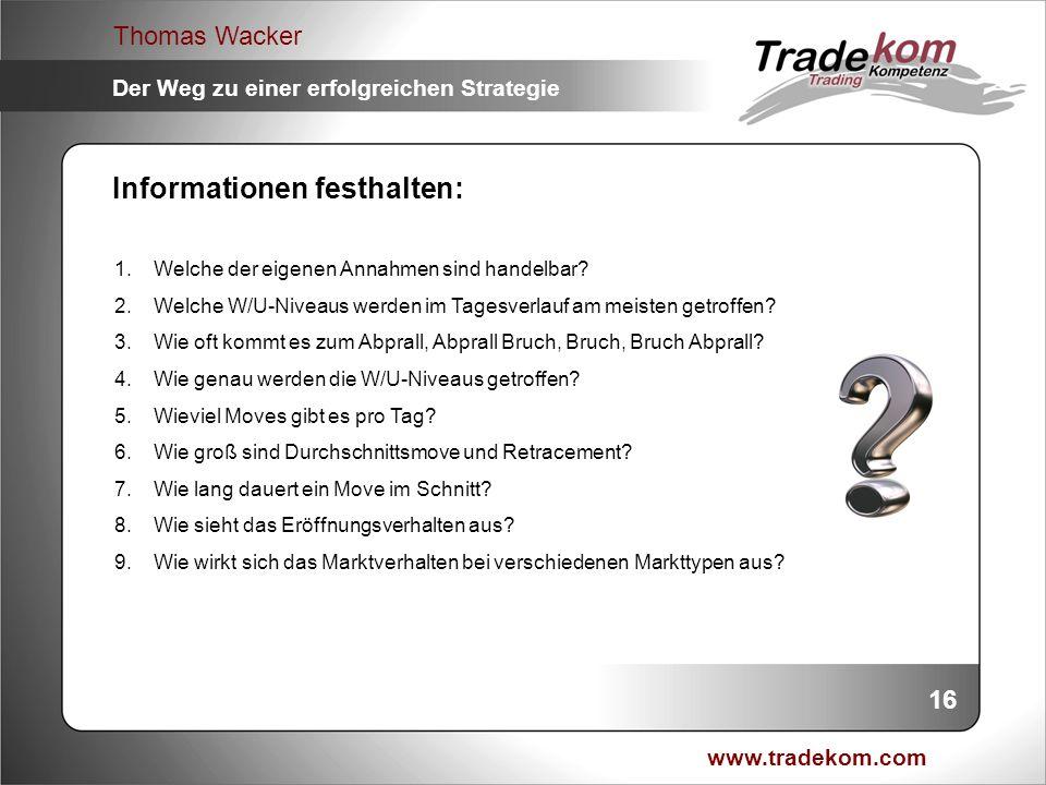 www.tradekom.com Thomas Wacker Der Weg zu einer erfolgreichen Strategie Informationen festhalten: 1.Welche der eigenen Annahmen sind handelbar? 2.Welc