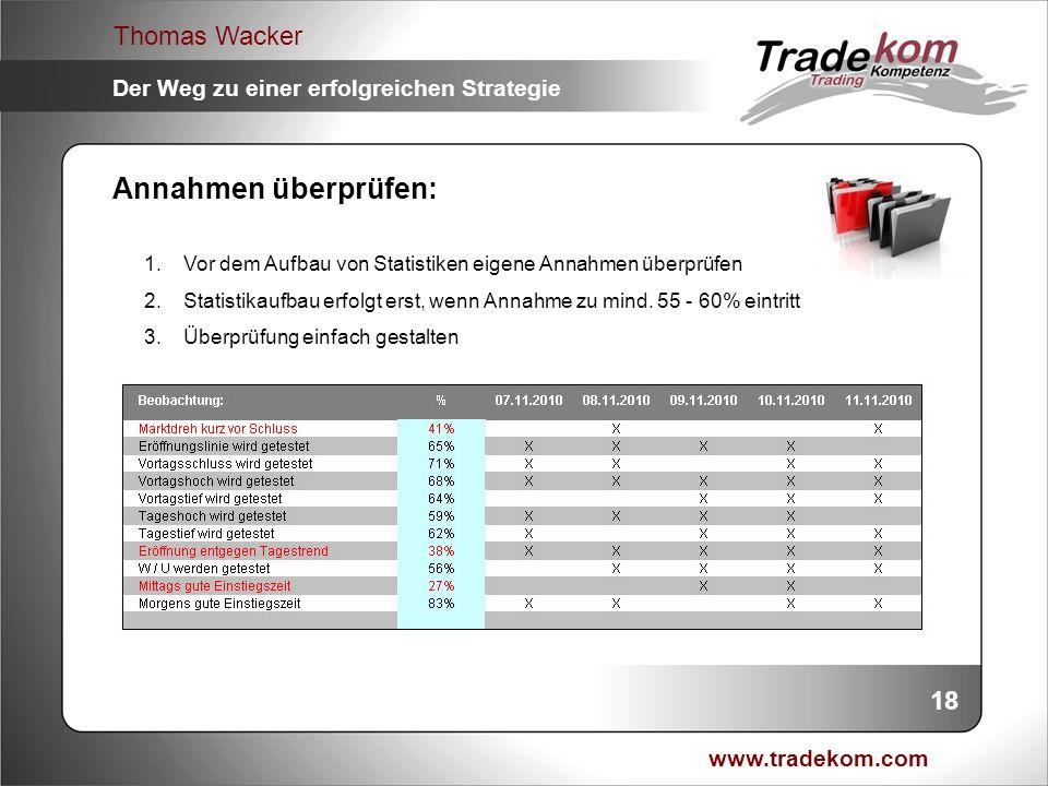 www.tradekom.com Thomas Wacker Der Weg zu einer erfolgreichen Strategie Annahmen überprüfen: 1.Vor dem Aufbau von Statistiken eigene Annahmen überprüf