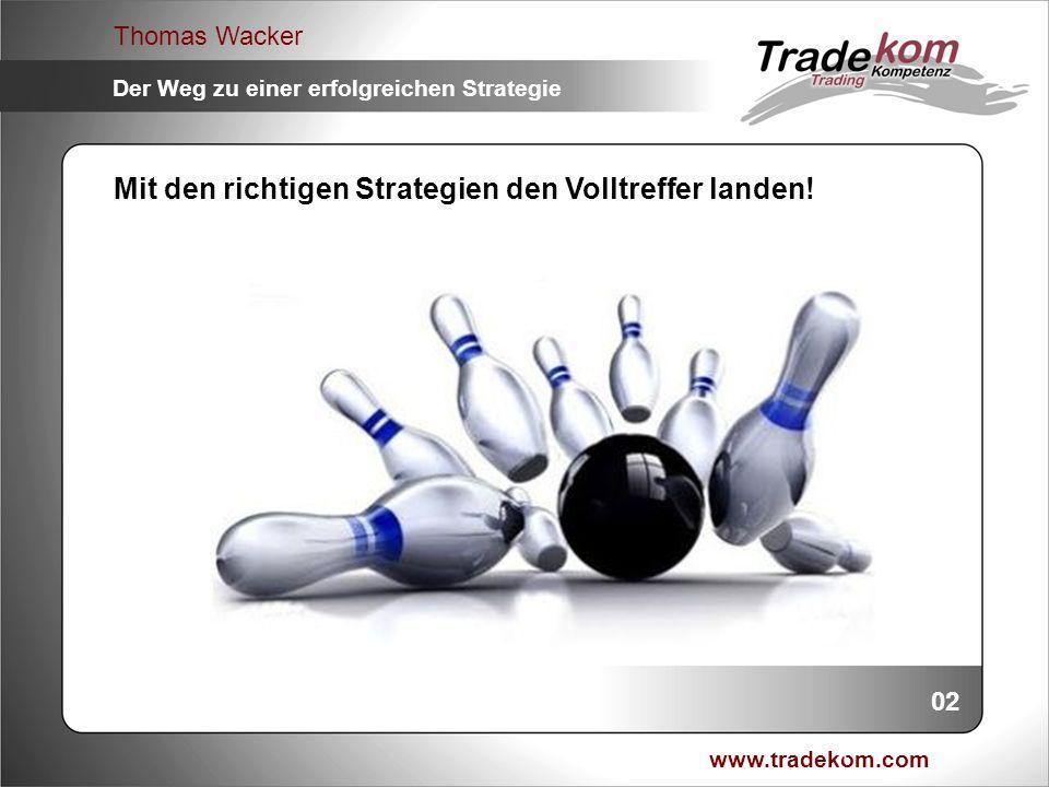www.tradekom.com Thomas Wacker Der Weg zu einer erfolgreichen Strategie 23 Analysezusammenfassung: 1.Abprallstrategie mit 66% Gewinnwahrscheinlichkeit (Strategieansatz / Setup) 2.Nach Bruch kommt Markt zu ca.