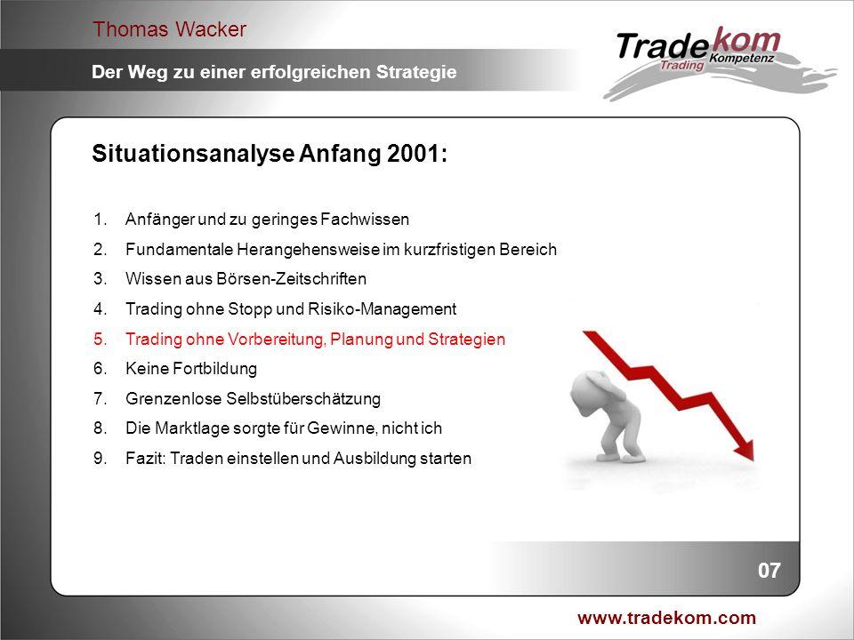 www.tradekom.com Thomas Wacker Der Weg zu einer erfolgreichen Strategie Situationsanalyse Anfang 2001: 1.Anfänger und zu geringes Fachwissen 2.Fundame