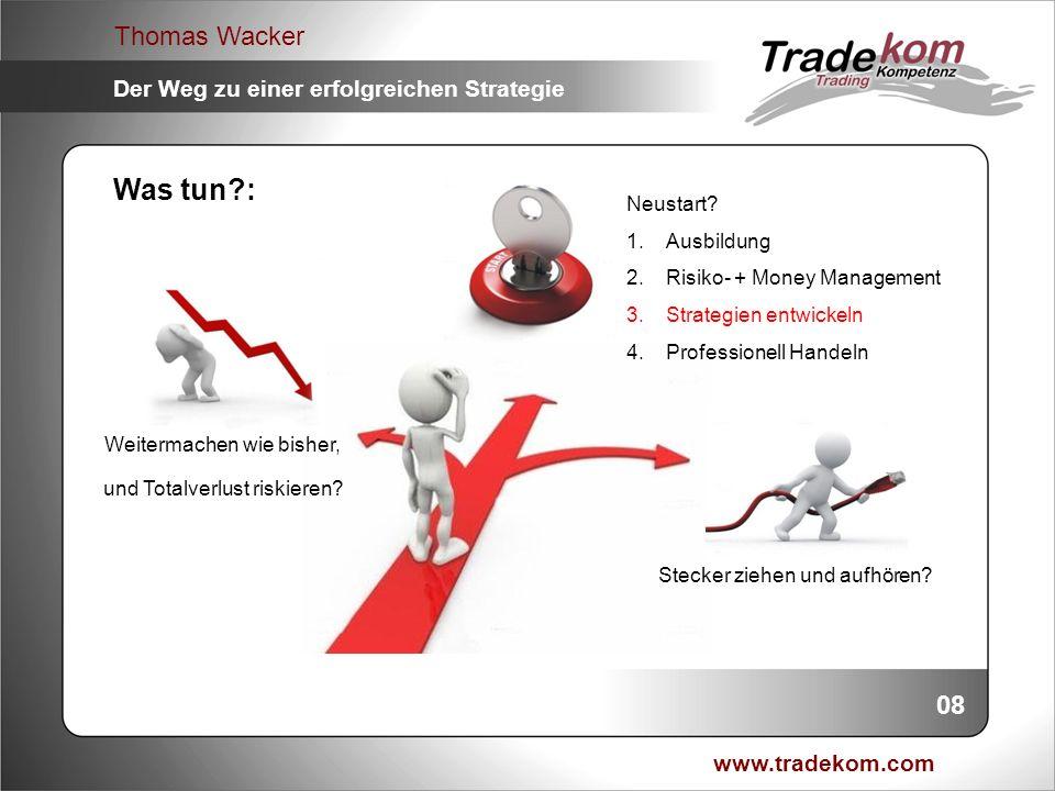 www.tradekom.com Thomas Wacker Der Weg zu einer erfolgreichen Strategie Was bietet eine erfolgreiche Strategie: 1.Fixierung von Ideen 2.Festes Regelwerk 3.Leitfaden (Bedienungsanleitung) 4.Reproduzierbarkeit 5.Analysen 6.Verbesserungen 7.Kontinuierliche Weiterentwicklung 8.Vertrauen 09