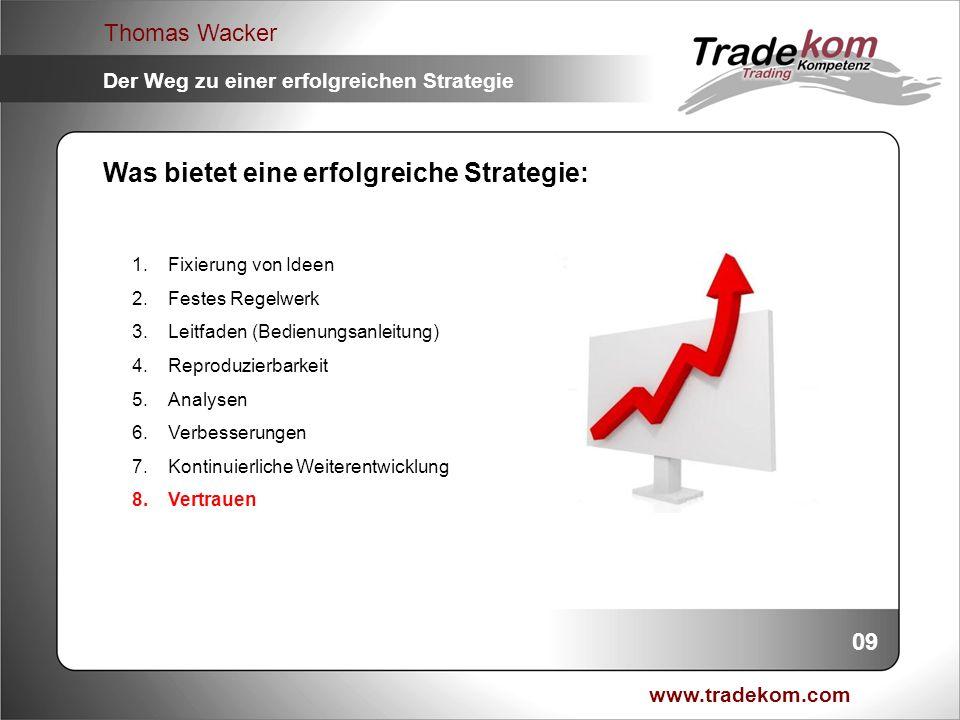 www.tradekom.com Thomas Wacker Der Weg zu einer erfolgreichen Strategie Was bietet eine erfolgreiche Strategie: 1.Fixierung von Ideen 2.Festes Regelwe