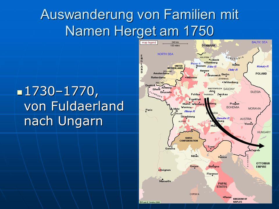 Auswanderung von Familien mit Namen Herget am 1600 Von Kurhessen in die Pfalz Von Kurhessen in die Pfalz