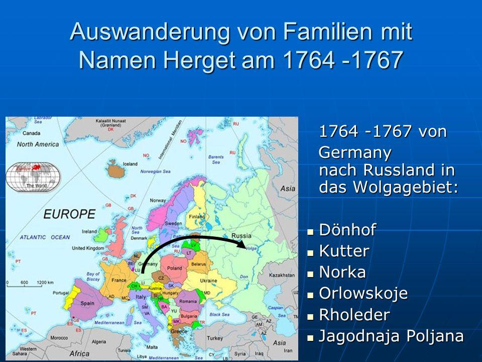 Auswanderung von Familien mit Namen Herget am 1750 1730–1770, von Fuldaerland nach Ungarn 1730–1770, von Fuldaerland nach Ungarn
