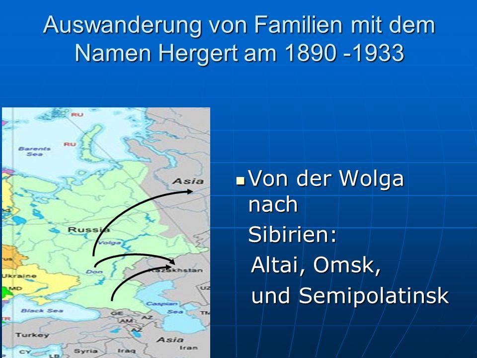 Auswanderung von Familien mit dem Namen Herget am 1890 Von Russland und dem Kaukasus, nach Kanada, USA & Argentinien 1890–1910 Von Russland und dem Kaukasus, nach Kanada, USA & Argentinien 1890–1910