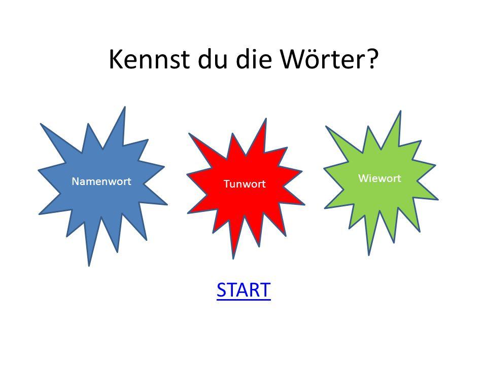 Kennst du die Wörter? START Namenwort Tunwort Wiewort