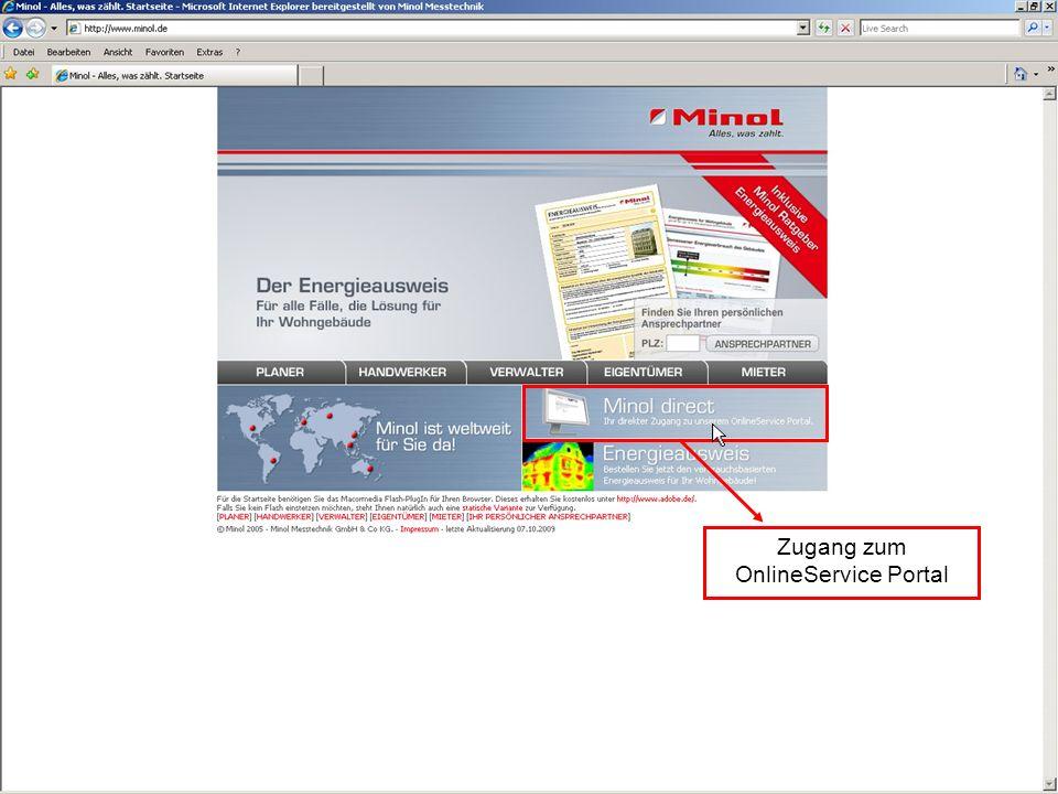 Zugang zum OnlineService Portal