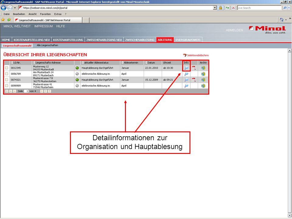 Hier erhalten Sie Informationen zum Ablesestatus/ -termin Detailinformationen zur Organisation und Hauptablesung