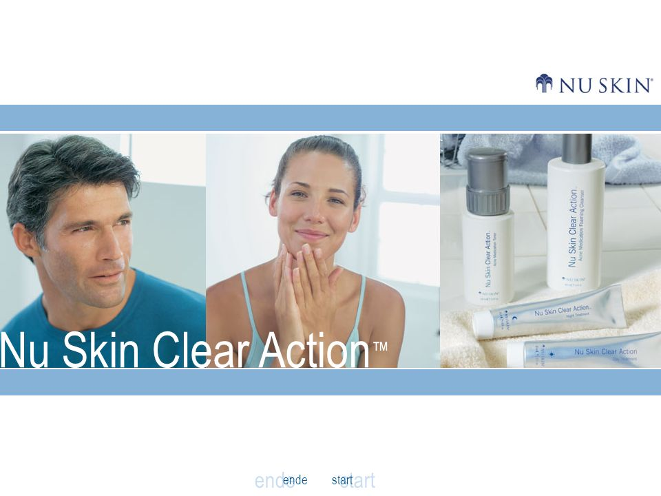 anfang Klären Sie Ihre Haut - porentief Das Neue Nu Skin Clear Action System Die Wahrheit über Pickel Die Nu Skin Lösung Ergebnisse zurück weiter Pickelarten VORHERNACHHER Beurteilungen von Anwendern Mein Gesicht fühlt sich deutlich weniger fettig an als früher.