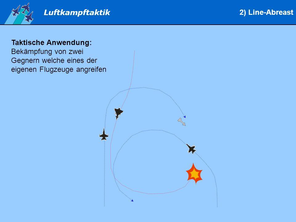 Luftkampftaktik Taktische Anwendung: Bekämpfung von zwei Gegnern welche eines der eigenen Flugzeuge angreifen 2) Line-Abreast