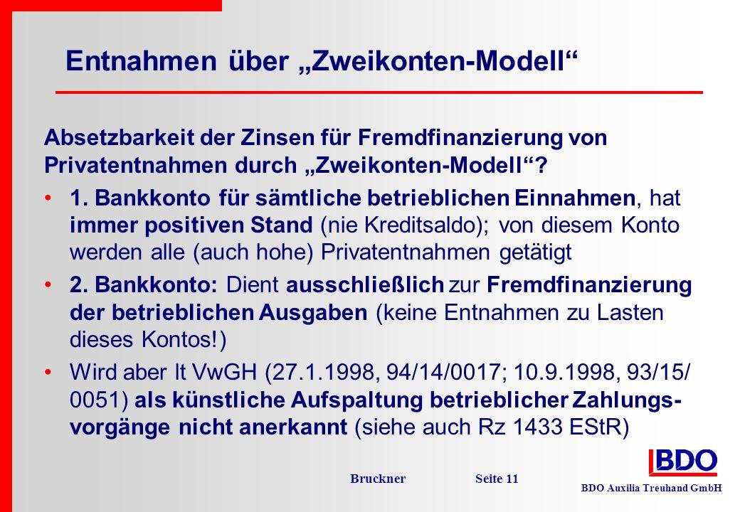 BDO Auxilia Treuhand GmbH Bruckner Seite 11 Entnahmen über Zweikonten-Modell Absetzbarkeit der Zinsen für Fremdfinanzierung von Privatentnahmen durch