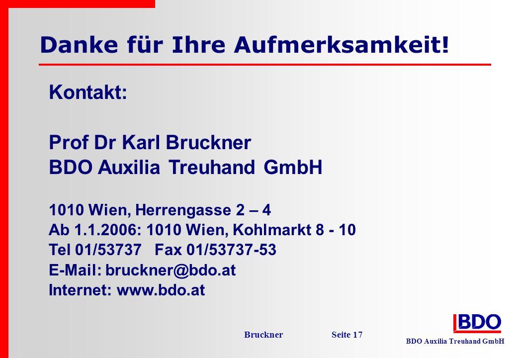 BDO Auxilia Treuhand GmbH Bruckner Seite 17 Danke für Ihre Aufmerksamkeit! Kontakt: Prof Dr Karl Bruckner BDO Auxilia Treuhand GmbH 1010 Wien, Herreng