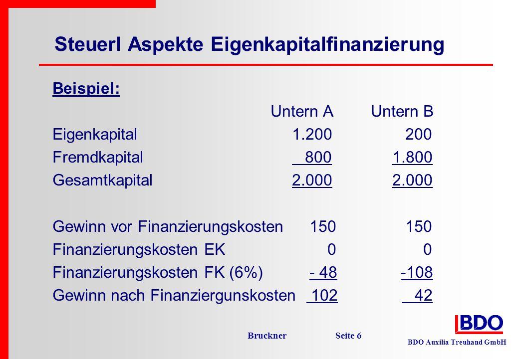 BDO Auxilia Treuhand GmbH Bruckner Seite 7 Lösungvorschlag: Einführung eines (steuerlichen) Zinsenabzugs für das im Unternehmen eingesetzte Eigenkapital dadurch Steuerneutralität der Finanzierung es ist dann steuerlich egal, ob der Betrieb mit Eigen- oder Fremdkapital finanziert wird.