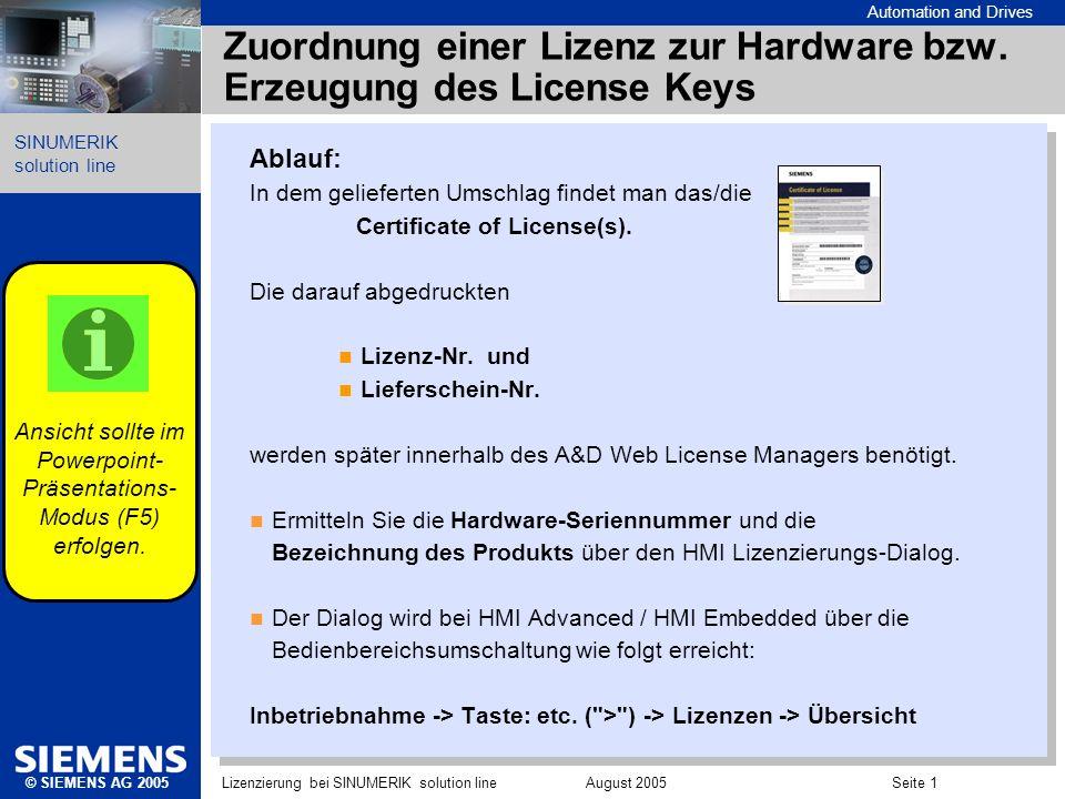 Automation and Drives SINUMERIK solution line © SIEMENS AG 2005Lizenzierung bei SINUMERIK solution line August 2005 Seite 1 Zuordnung einer Lizenz zur
