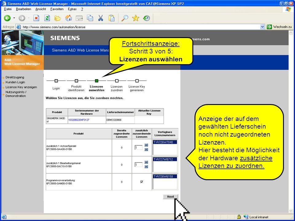 Automation and Drives SINUMERIK solution line © SIEMENS AG 2005Lizenzierung bei SINUMERIK solution line August 2005 Seite 6 Fortschrittsanzeige: Schritt 4 von 5: Lizenzen registrieren Zusammenfassung der gewählten Lizenzen.