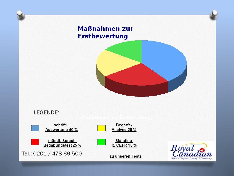 schriftl.Auswertung 40 % mündl. Sprach- Begabungstest 25 % Bedarfs- Analyse 20 % Standing lt.