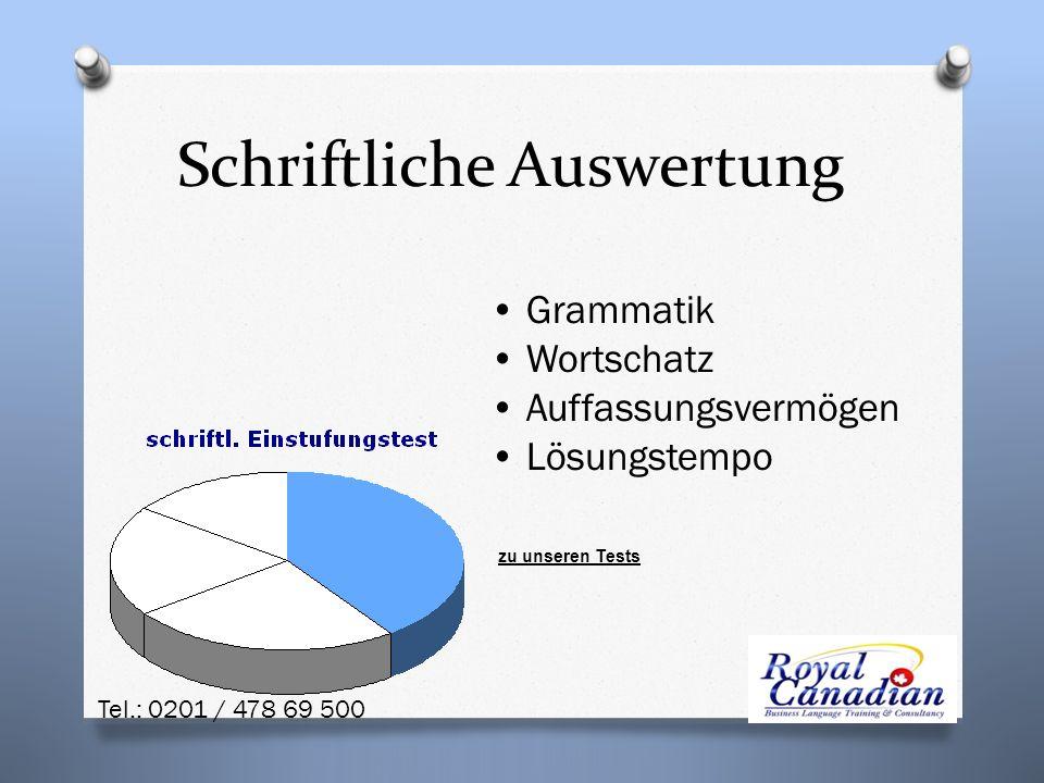 Grammatik Wortschatz Auffassungsvermögen Lösungstempo Schriftliche Auswertung zu unseren Tests Tel.: 0201 / 478 69 500