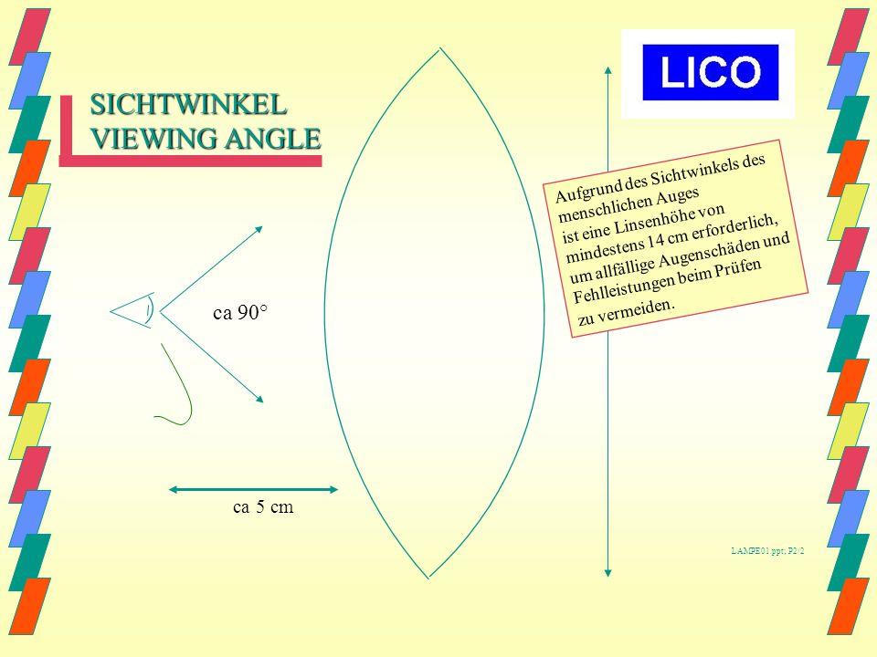 OBJECT Auge Linse 3 Di : 30-40 cm 4 Di : ca 25 cm Abstand zum Objekt. 90°. ca 5 cm Auge-Linse 90° LAMPE01.ppt; P1/2.