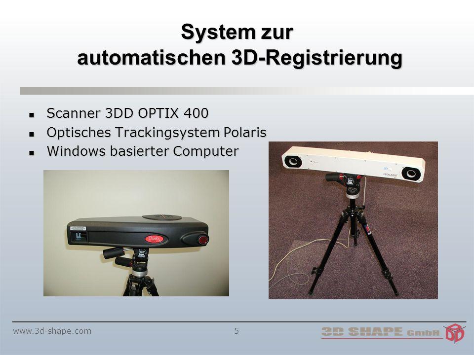 www.3d-shape.com5 System zur automatischen 3D-Registrierung Scanner 3DD OPTIX 400 Scanner 3DD OPTIX 400 Optisches Trackingsystem Polaris Optisches Trackingsystem Polaris Windows basierter Computer Windows basierter Computer